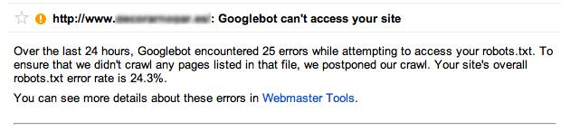 El robot de Google no puede acceder a la web