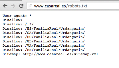 Robots.txt de la Royal House